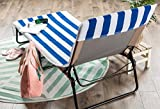 DII Stripe Beach Lounge Chair Towel with Fitted Top Pocket, 26x82, Blue