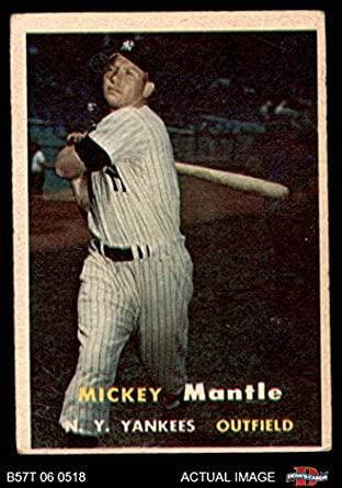 1957 Topps 95 Mickey Mantle New York Yankees Baseball Card Deans Cards 2