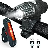 Bonnevie USB Rechargeable Bike Light Set,1500mA Powerful Waterproof Mountain Bicycle Headlight and Taillight Set Super Bright Front Light and Rear Light for Cycling Safety