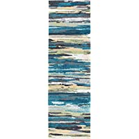 Caruso Contemporary Stripe Blue Runner Rug, 2 x 7