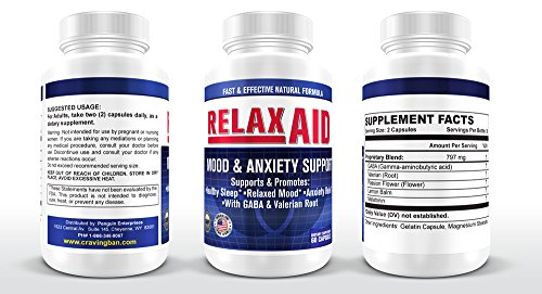Natural Sleep Aid Supplement for Relaxation with Non GMO Valerian Root Passion Flower GABA(Gamma Aminobutyric Acid) helps with Anxiety/Stress Insomnia Depression & Drug/Alchohol Withdrawal Symptoms