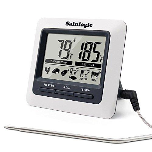 Sainlogic® Kochthermometer ,mit Großes, Digitales LCD Display, Digitalem Küchenwecker für Küchen,Essen, Fleisch, Kochen, BBQ,Grill,Ofen und Smoker