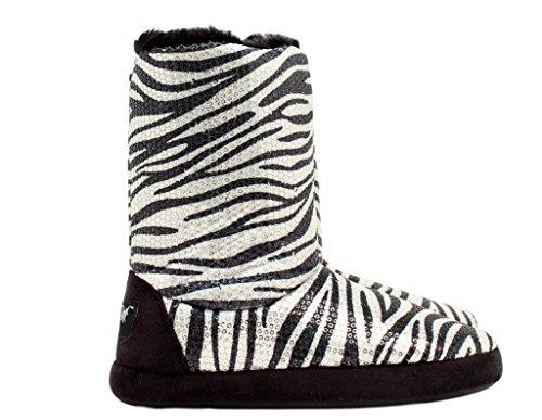 Blazin Roxx Ladies Sequin Zebra Boot Slipper (Print Boots Zebra)