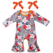 Annvivi Newborn Baby Girls Long Sleeve Floral Romper Ruffle Pants With Bowknot Outfits (Gray, 0-6 Months)