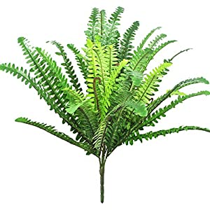 "Beebel 22.8"" Artificial Boston Fern Artificial Plants Silk Hanging Plant Faux Shrubs Greenery Bushes for Wedding Office Indoor Outdoor Decor 39 Leaves 43"