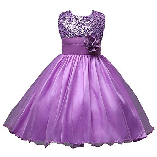 Csbks Little Girl Flower Sequin Princess Tulle Party Dress Birthday Ball Gowns 7 Purple