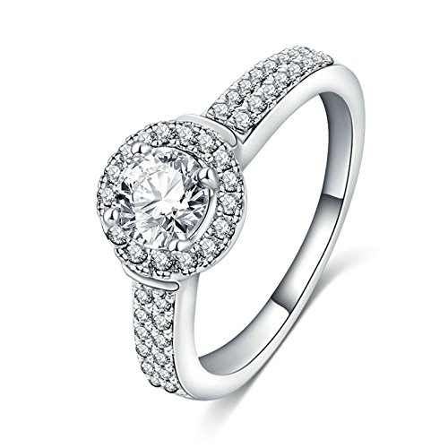 KnSam Rings for Women Wedding Ring Silver Plated Base Double Row Drill Crystal Protruding Silver Size (Double Row Engraved Band)