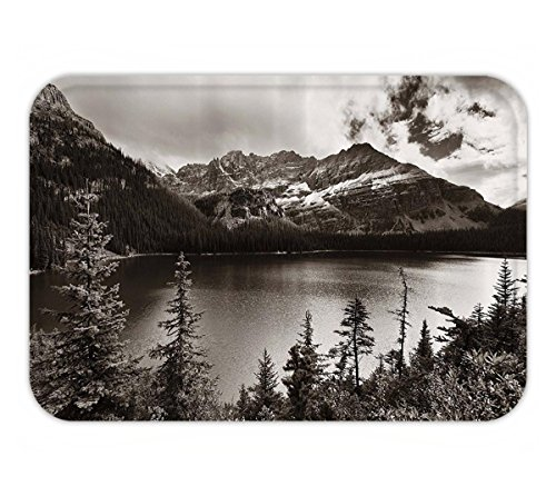 Beshowere Doormat National ParkHome Decor Alpine Area Province Waterfront Recreation Relsign Fabric Bathroom Decor Set with Hook Extra Long Black and - Pittsburgh Waterfront