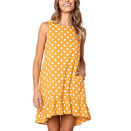 Exlura Women's Casual Sleeveless Polka Dot Dress Ruffle Flounce Round Neck Loose Swing A-Line Pocket Mini Dress Yellow