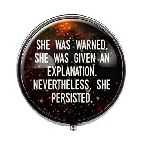(She was Warned Nevertheless She Persisted - Feminist Art Photo Pill Box - Charm Pill Box - Glass Candy Box)