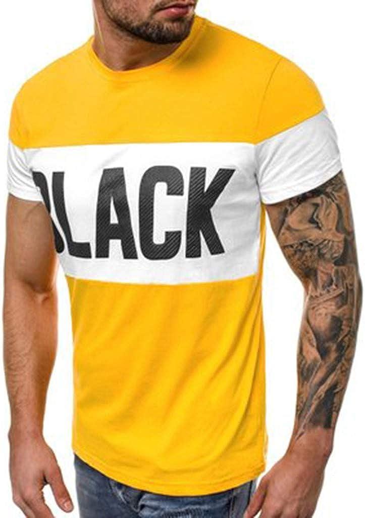 OPAKY Nueva Letra de Verano de Los Hombres Impresa Manga Corta Moda y Blusa Cómoda Camisetas de Fitness: Amazon.es: Ropa y accesorios