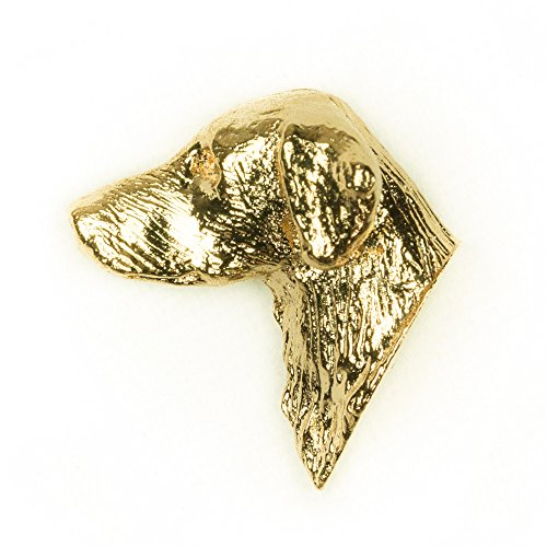 (FLAT COAT RETRIEVER HD Made in U.K Artistic Style Dog Clutch Lapel Pin Collection 22ct Gold Plated)