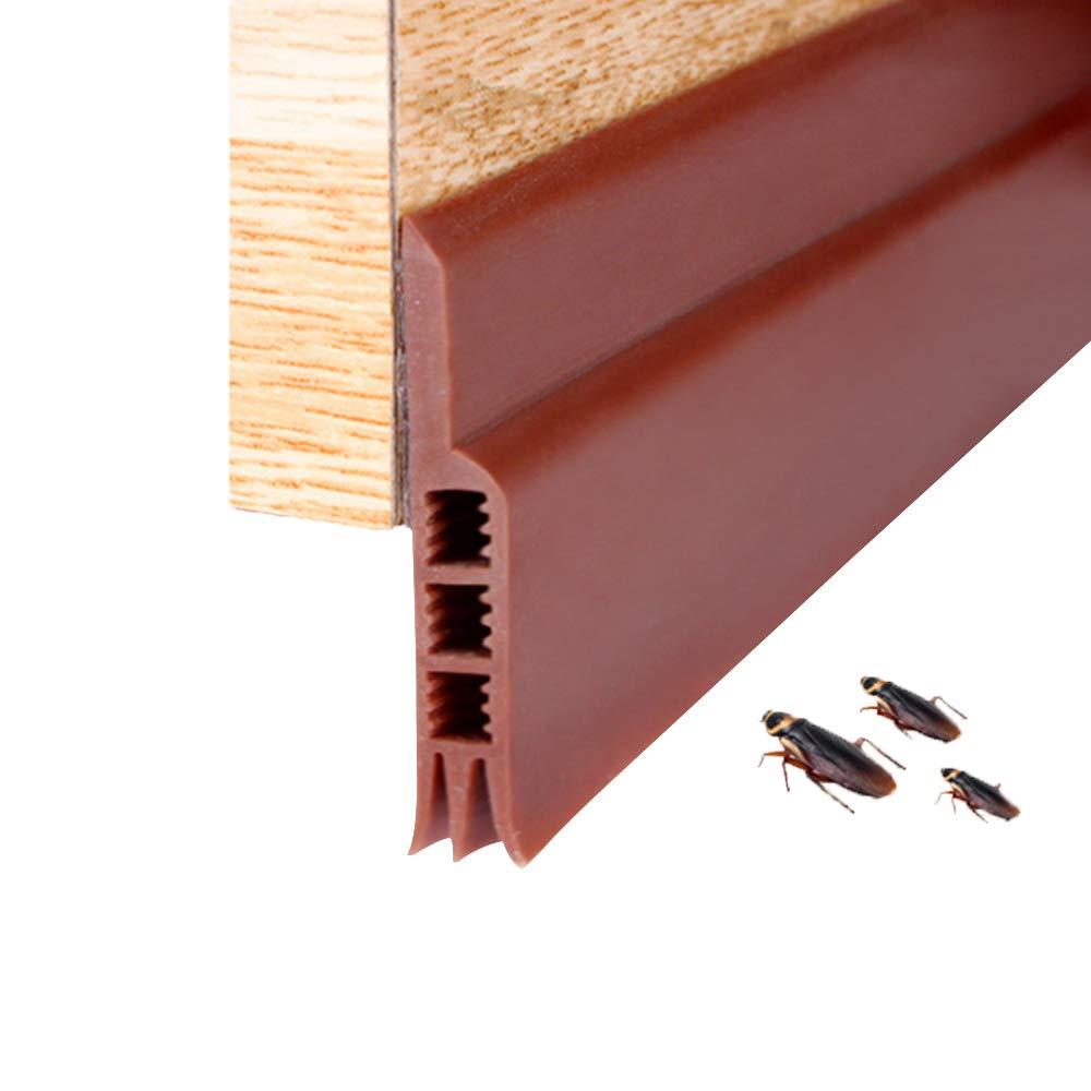 Under Door Seals Door Draft Stopper, Under Door Seals Rubber Weather Stripping Under Door Draft Stopper Keep Bugs and Noise Off, 2'' Width x 39'' Length (Brown)