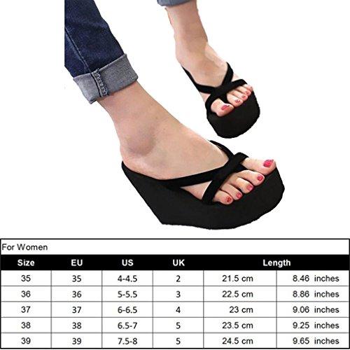Azul Alto Mujer Playa Cuña de Zapatillas con de para para Genepeg Verano Sandalias Plataforma Tacón de xXw067pZq