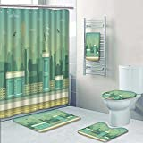 PRUNUSHOME 5-piece Bathroom Set-Includes Shower Curtain Liner, layered parallax ready runner shooter game cityline background Print Bathroom Rugs Shower Curtain/Bath Towls Sets(Large)