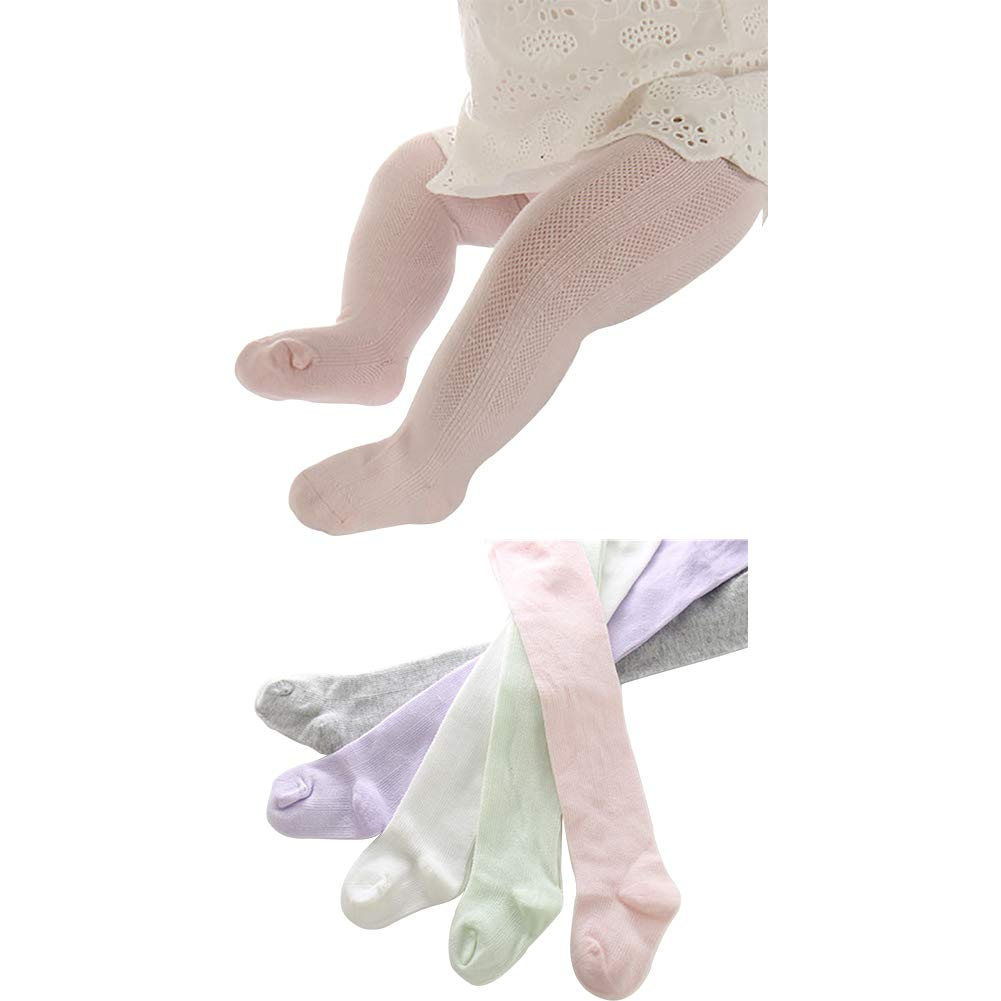 5 Pack Infant Baby Girls Mesh Knit Tights Stocking Leggings Pants Kids Footless 1-2T by Looching