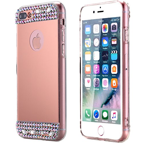 iPhone 7 Plus Case, AICase Luxury Crystal Diamond Glitter Bling Soft TPU with Glass Mirror Back Plate Cover Case for iPhone 7 Plus(5.5) (Rose Gold)