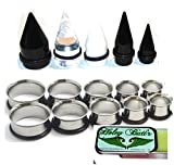 15 Pc Huge Tapers Ear Stretching Kit Black Clear White Tapers and Surgical Steel Tunnels 0g-1 inch Holey Butt'r
