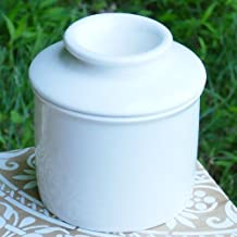 Tumbleweed Porcelian Butter Keeper, Butter Crock, White French Butter Dish