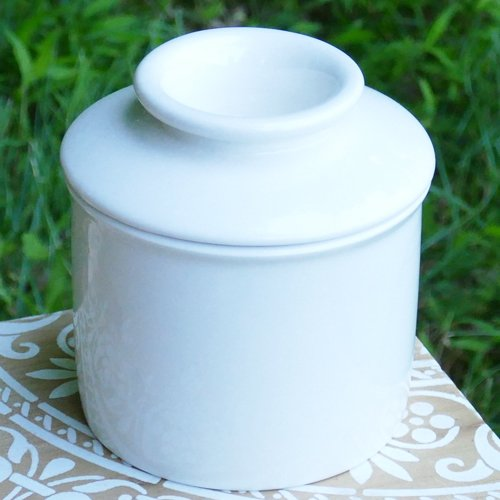 Tumbleweed - Porcelain Butter Keeper, Butter Crock, Covered White French Butter ()