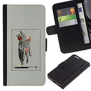 KingStore / Leather Etui en cuir / Apple Iphone 6 PLUS 5.5 / Mano Hombre Primavera Profundo Rose Significado;
