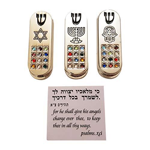 Talisman4U Set of 3 CAR MEZUZAH with Travelers Prayer Scroll Hoshen Stone Mezuzahs from Israel Jerusalem Art Judaica Gift
