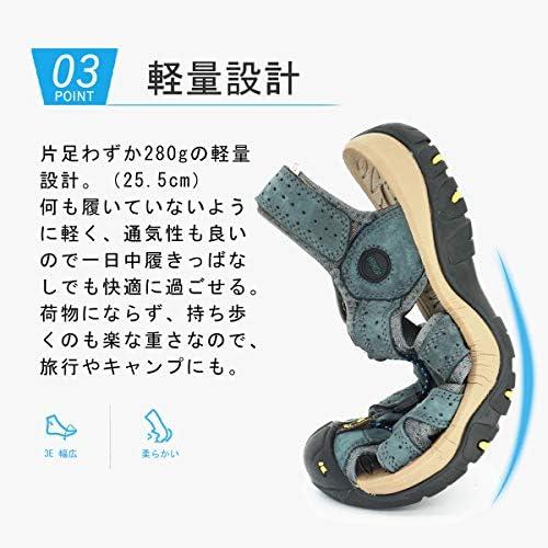 [スポンサー プロダクト][NEARDREAM] スポーツサンダル メンズ スポーツ さんだる アウトドア サンダル 登山サンダル 本革製 おしゃれ 厚底 水陸両用