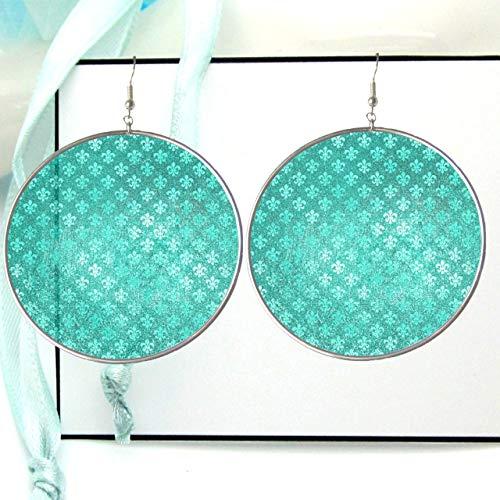 (Turquoise Fleur de Lis Fabric Pattern Hoop Earrings, Metallic Paper Picture Image Jewelry, Silver Resin Simple Hoops, X Large)