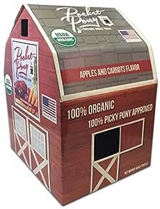 Pocket Pony Horse Treats, Made in USA, 100% Organic Human Grade, Grain Free, Gluten Free, Apples & Carrots, 44 oz Box