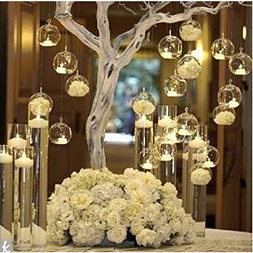 LANLONG 80MM Hanging Tealight Holder Glass Globes Terrarium Wedding Candle Holder Candlestick (18 Pcs/set) (18pcs) ()