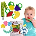 Baby Teething teether Chew Toys, organic teether baby tooth toy frozen toys Safe Teether, BPA Free Natural, free bonus 1 Teether Holder (4 Pack) by PatoKids that we recomend personally.