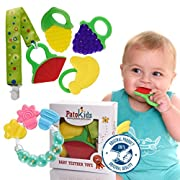 Baby Teething Chew Toys, organic teether frozen toys Safe Teether,BPA Free Natural, free bonus:1 Rustling Toy & 1 Teether Holder (6 Pack) By PatoKids.