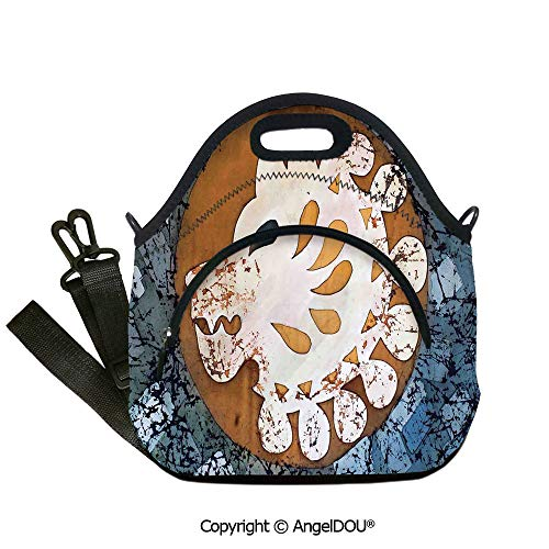 AngelDOU Batik Decor waterproof insulation portable lunch box bag Grungy Wolf Visage in a Rounded Full Moon Form Night Knight Esoteric Image for Women Kids Baby Girls.12.6x12.6x6.3(inch)