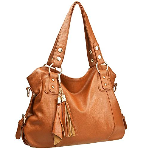 Amazon.com: Win8Fong Leather Cowhide Women's Tassel Bag Shoulder ...