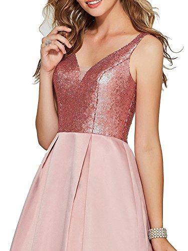 BP131 BessWedding Women's Evening Sleeveless Gowns Dresses Neck V Red Prom Low Satin High qPqx4S