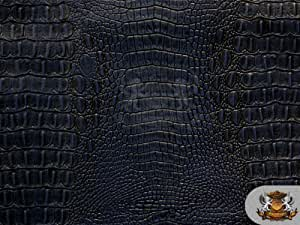 Vinyl Crocodile ALLIE NAVY BLUE Fake Leather Upholstery Fabric By the Yard