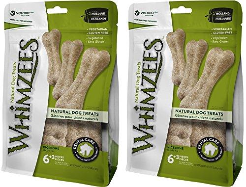 2 Pack WHIMZEES Natural Grain Free Dental Dog Treats, Rice Bones Large