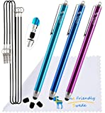 """Bundle of 3PCS Premium Branded 5.5"""" Thin-Tip High Precision Universal Capacitive Fine Point Stylus Pens + Extra 3 Replaceable Tips, Screen Cleaning Cloth and 3 X 15"""" Detachable Elastic Lanyards (Aqua Blue/Dark Blue/Purple)"""