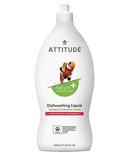 ATTITUDE, Liquid Dish Soap, Non-toxic, Antibacterial, ECOLOGO Certified, Pink Grapefruit, 23.7 Fluid Ounce