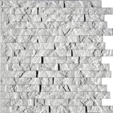 Ledge Stone 3D Wall Panels - Lightweight thermoplastic Decorative 3D Wall Tiles for Easy Glue Up Installation. Crystal White Color. 1 Panel (24''x24'' Covers ~4 sq. ft)