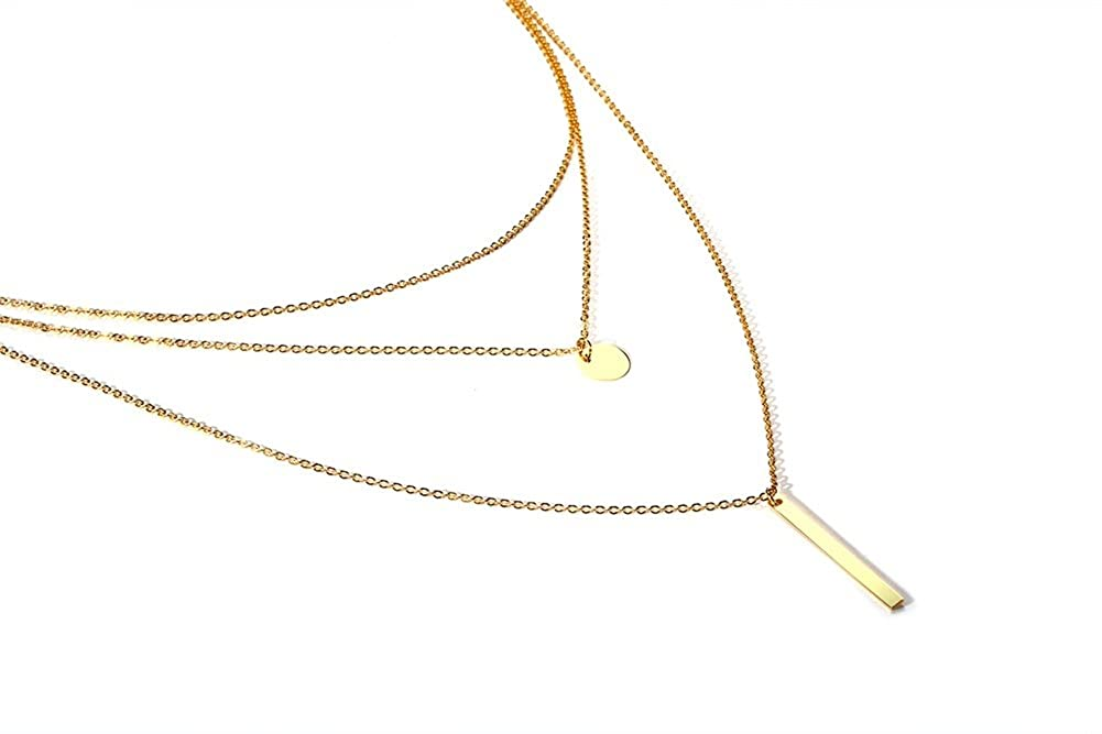 YIKOXI Stainless Steel Three Layers Bar Simple Rectangular Round Metal Tag Gold Necklace Women Girl,16-17.7 inch