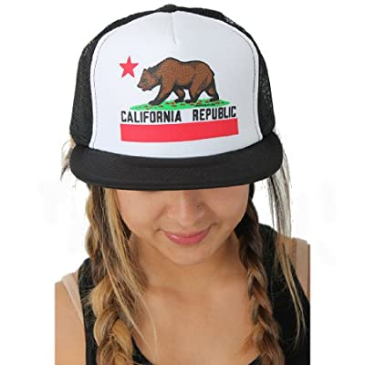 Dolphin Shirt Co California Republic Flag Flat Bill Snapback Mesh Truckers Cap - Black/White One Size Fits Most by Dolphin Shirt Co