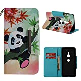 Leather Wallet Case for Sony Xperia XZ 2,Shinyzone Cute Cartoon Animal Panda Painted Pattern Flip Stand Case,Wristlet & Metal Magnetic Closure Protective Cover
