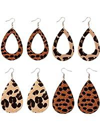 Leather Earrings Lightweight Faux Leather Leaf Earrings Teardrop Dangle Handmade Floral Leopard Print for Women Girls 4 Pairs