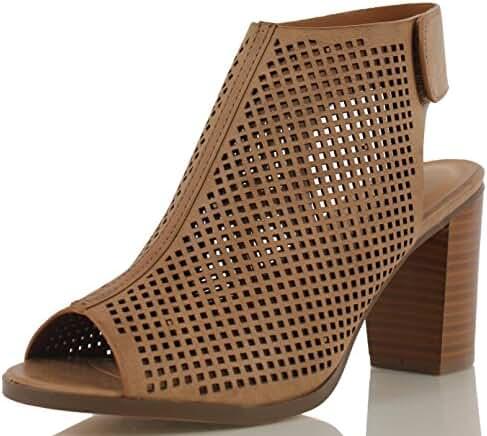 Peep Toe Ankle Strap Sandal – Western Bootie Low Stacked Heel Open Toe Cutout Velcro – Casual by J Adams
