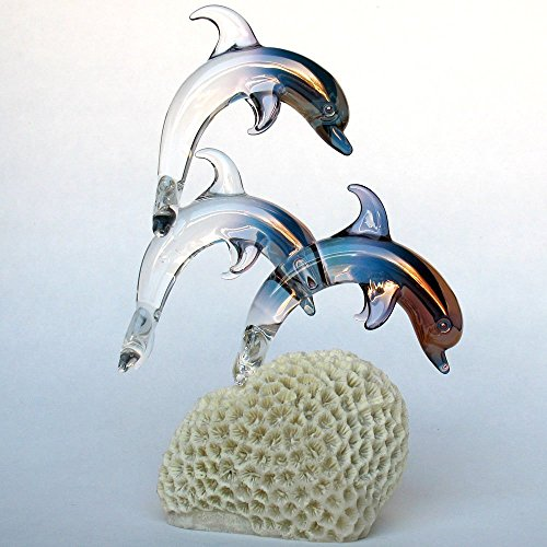 Dolphin Figurine of Hand Blown Glass on Coral