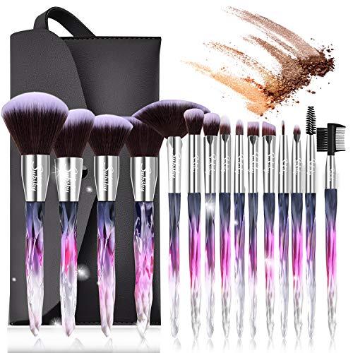 🥇 Set de brochas de maquillaje profesional Subsky 15 piezas Pinceles de maquillaje Set Premium Synthetic Foundation Brush Blending Face Powder Blush Concealers Kit de pinceles