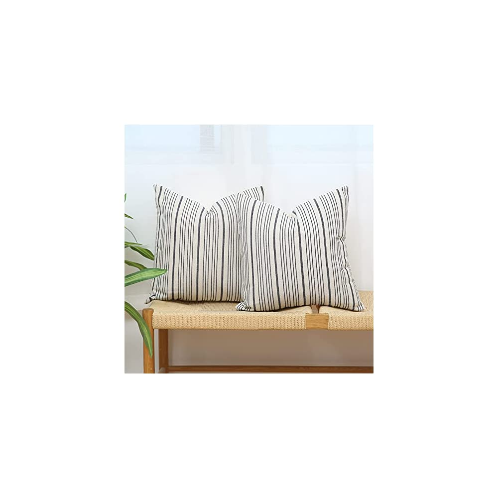 Kiuree Navy Blue and Cream FarmhouseThrow Pillow Covers 18 x 18, Modern Accent Square Decorative PillowCase, Set of 2 Stripes Textured Linen Throw Pillow Case for Sofa Couch Chair Bedroom(Navy Blue)