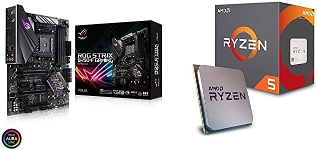 ASUS ROG Strix B450-F Gaming Motherboard (ATX) AMD Ryzen 2 AM4 DDR4 DP HDMI M.2 USB 3.1 Gen2 B450 Bundle with AMD Ryzen 5 2600 Processor with Wraith Stealth Cooler - YD2600BBAFBOX
