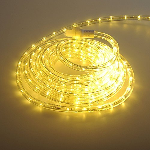 24Ft LED Rope Lights Heavy Duty Bright Warm White-Custom Cut & Expandable 2-Wire 120V UL Listed,Perfect for Roofline, Garden, Backyard, Pathway, Patio, Tree trunks Indoor & Outdoor Decoration (Patios Custom)